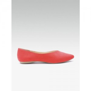 DOROTHY PERKINS Women Coral Red Solid Ballerinas