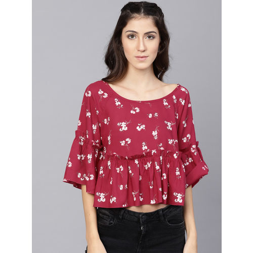 STREET 9 Maroon Floral Print Styled Back Top
