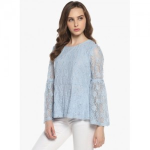 Blue Self Pattern Blouse