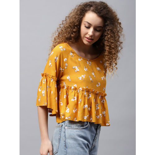 STREET 9 Women Mustard Yellow Printed Styled Back Top