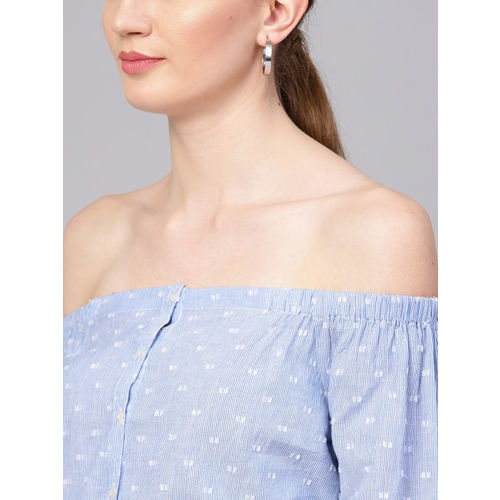 STREET 9 Women Blue & White Striped Bardot Top