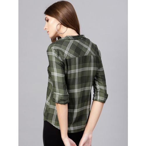 STREET 9 Women Olive Green & Black Regular Fit Checked Casual Shirt