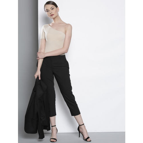 DOROTHY PERKINS Women Black Regular Fit Solid Cropped Trousers