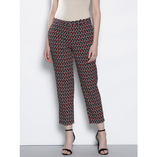 DOROTHY PERKINS Women Navy Blue & Red Regular Fit Printed Cropped Trousers