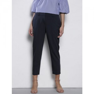 DOROTHY PERKINS Women Navy Blue Solid Formal Trousers