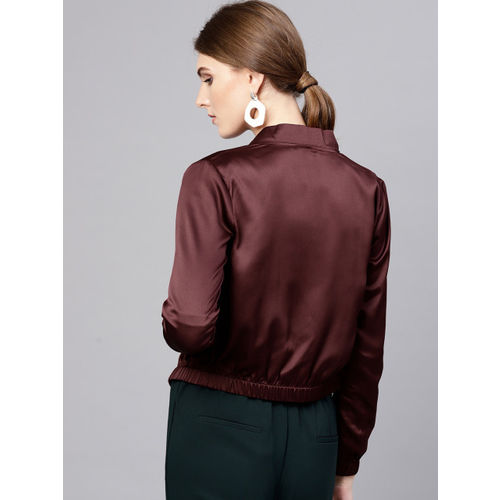 STREET 9 Women Burgundy Solid Satin Cropped Bomber Jacket