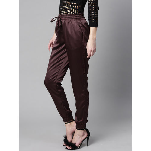 STREET 9 Women Burgundy Regular Fit Solid Satin Finish Joggers