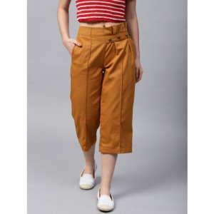 STREET 9 Mustard Brown Solid Loose Fit Culottes