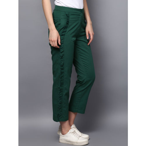 STREET 9 Green Relaxed Slim Fit Solid Regular Trousers