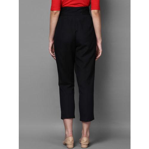 STREET 9 Black Relaxed Slim Fit Solid Cigarette Trousers