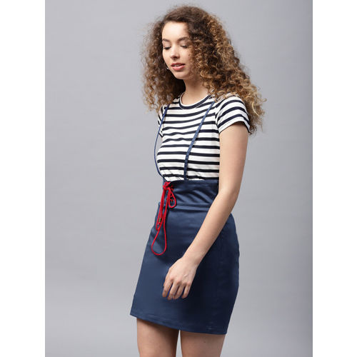 STREET 9 Blue Solid Pencil Skirt with Suspenders