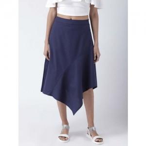 STREET 9 Navy Blue Solid A-Line Knee-Length Skirt