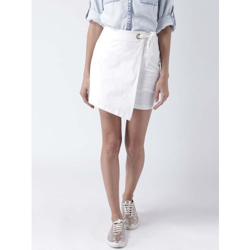 STREET 9 Women White Solid Wrap-Around Mini Skirt