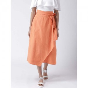 STREET 9 Orange Solid Wrap-Around Midi Skirt