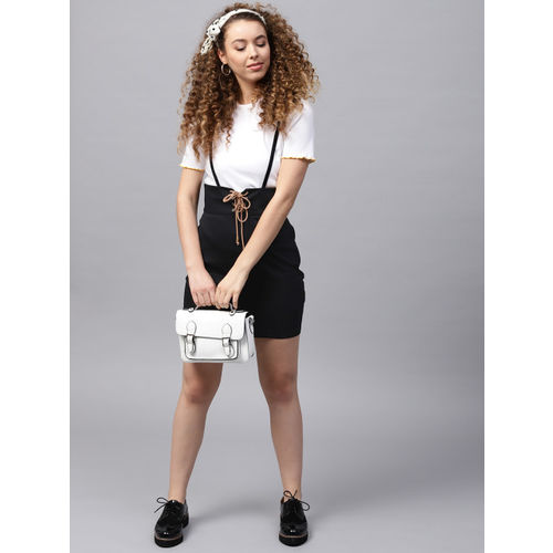 STREET 9 Black Cotton Solid Pencil Skirt with Suspenders