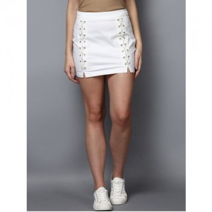 STREET 9 White Solid Mini Pencil Skirt