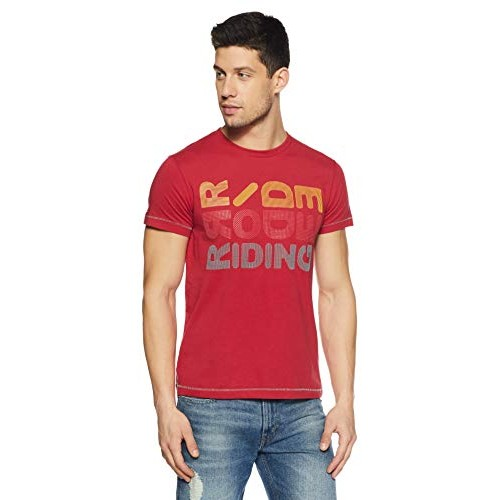 Lee Red Cotton Slim Fit Printed Casual T-Shirts