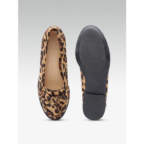 DOROTHY PERKINS Women Brown Leopard Print Slip-Ons