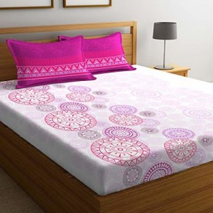 Portico New York, Vienna - Queen Size 144 TC Cotton Bedsheet with 2 Pillow Covers - 2.24m x 2.54m, Multicolour