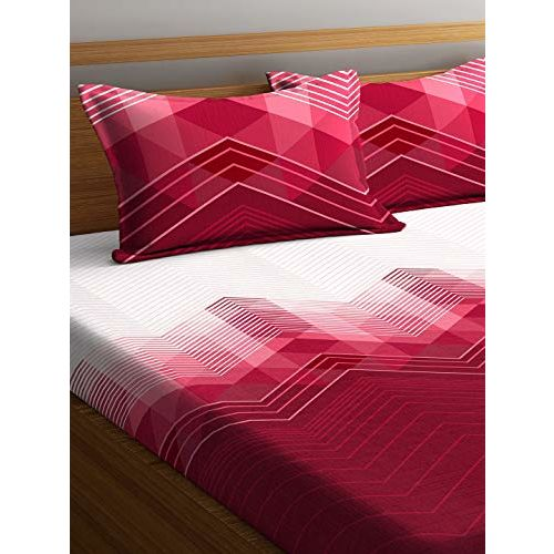 Portico New York Lavender Printed Cotton Super King Size Double Bedsheet with Pillow Cover-274x274 cm