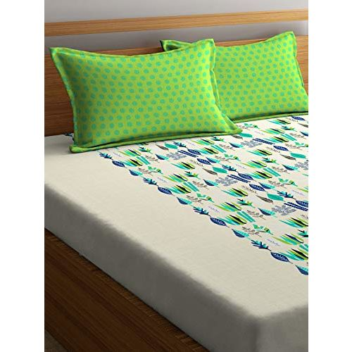 Portico New York Marvella Printed 144 TC Cotton Double Bedsheet with 2 Pillow Cover (Queen Size, 224X254 cm, Multicolour)
