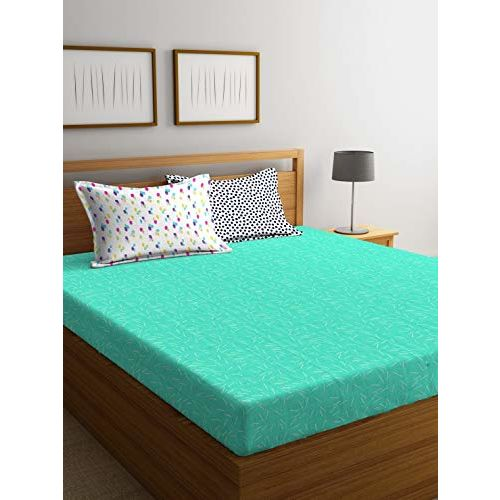 Portico New York Hashtag Printed Cotton 144 TC King Size Double Bedsheet with 2 Pillow Cover- 224X274 cm