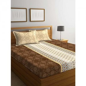 Portico New York Sparkle Printed Cotton 144 TC Queen Double Bedsheet with 2 Pillow Covers (Multicolour, 224x254 cm)