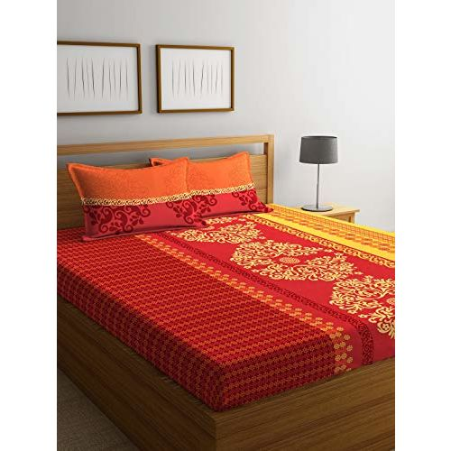 Portico New York Sparkle Printed Cotton 144 TC Double Bedsheet with 2 Pillow Cover (Queen Size, 224X254 cm, Multicolour)