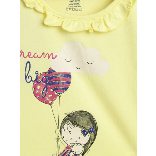612 league Girls Yellow Printed Top
