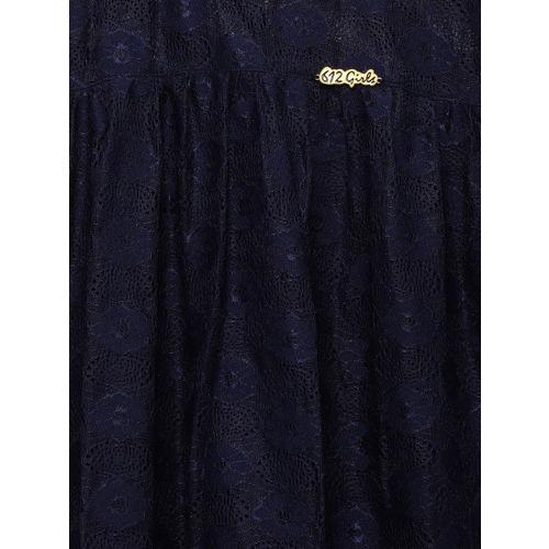 6e9d9138c Buy 612 league Girls Navy Blue Self Design Top online   Looksgud.in
