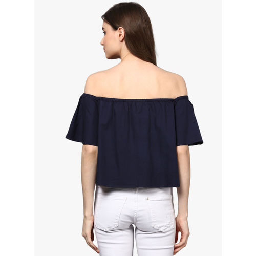 STREET 9 Navy Blue Solid Blouse