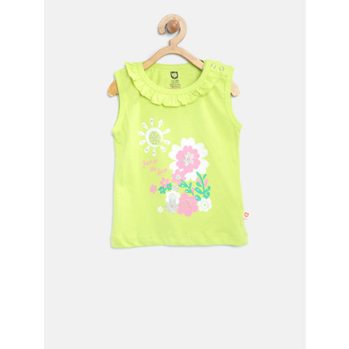612 league Girls Lime Green Printed Top