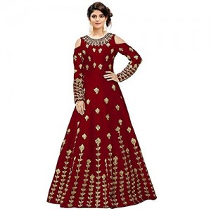 Varudi Fashion Red Taffeta Silk Embroidered Semi-Stitched Anarkali Gown