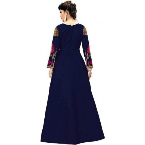 Fashion Web Blue Banglori Silk Embroidered Anarkali Gown With Dupatta