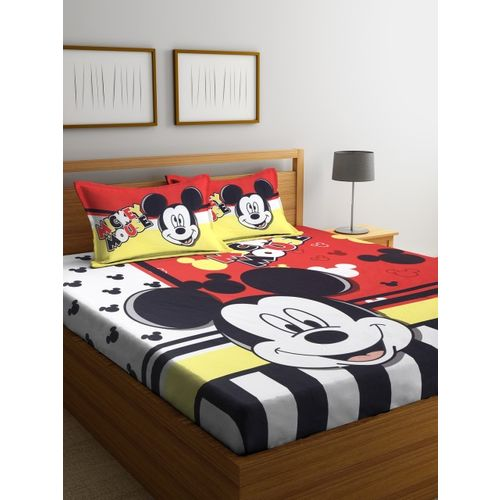 SPACES Red & Black Mickey Mouse Print Flat 180 TC Queen Bedsheet with 2 Pillow Covers