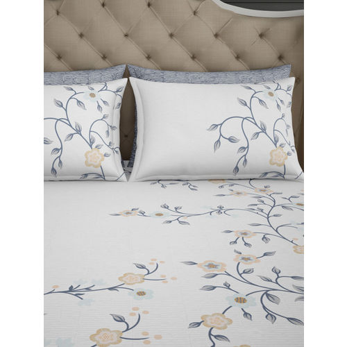SPACES White Abstract Flat 400 TC Cotton 1 King Bedsheet with 4 Pillow Covers
