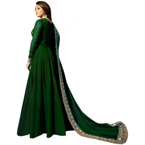 Fashion Basket Green Faux Georgette Embroidered Anarkali Gown With Dupatta