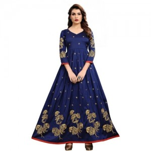 Mahalaxmi Fashion NavyBlue Satin Banglori Anarkali Gown