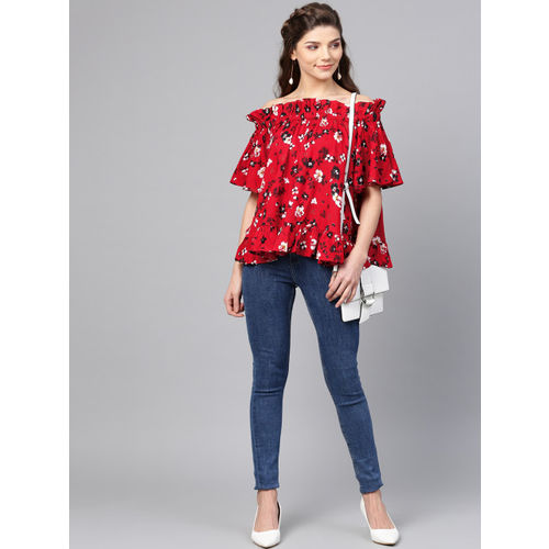 Femella Women Red & Black Printed Bardot Top