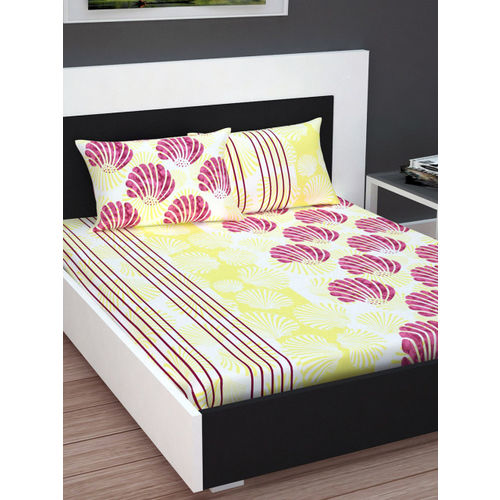 Divine Casa Yellow & Pink Floral Flat 160 TC Cotton 1 Extra Large Bedsheet with 2 Pillow Covers