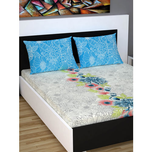 Divine Casa Off-White & Grey Floral Flat 144 TC Cotton Bedsheet with 2 Pillow Covers