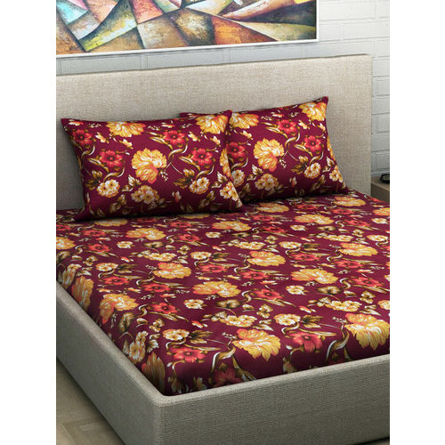 Divine Casa Burgundy & Mustard Floral Flat 180 TC Cotton 1 Extra Large Bedsheet with 2 Pillow Covers