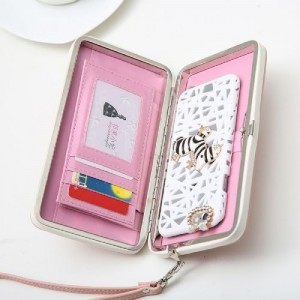Banqlyn Pink & White Genuine Leather Wallet