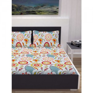 Divine Casa Multicoloured Floral Flat 144 TC Cotton 1 Extra Large Bedsheet with 2 Pillow Covers