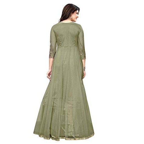 R2D Green Net Bottom Semi-Stitched Anarkali Gown With Dupatta