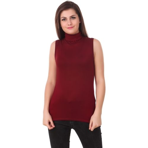 Le Bourgeois Casual Sleeveless Solid Women's Maroon Top