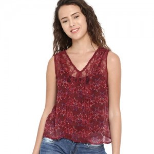 Dressberry Casual Sleeveless Printed Women's Red Top