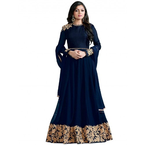 INFOTECH Blue Georgette Embroidered Semi-Stitched Gown With Dupatta