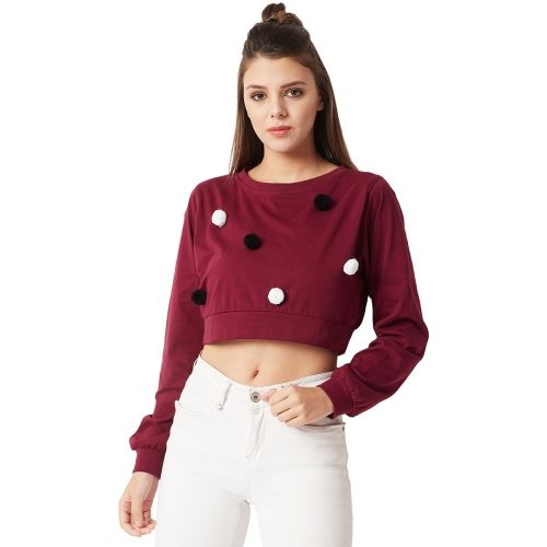 Miss Chase Casual Full Sleeve Solid Women's Maroon Top