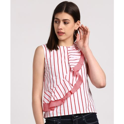Madame Casual Sleeveless Striped Women's Red, White Top